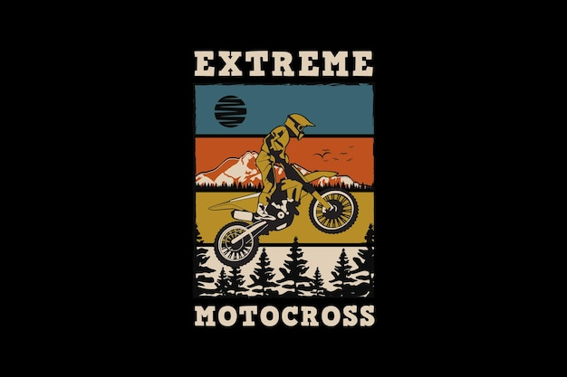Motocross extremo, estilo retro de silueta de diseño