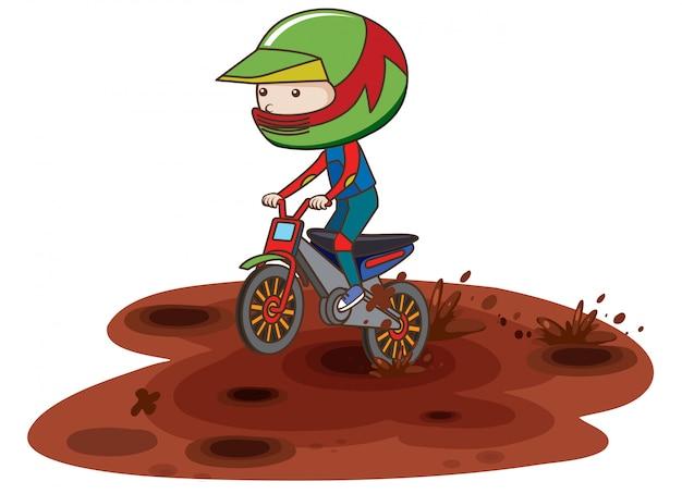 Un motocross racing en barro