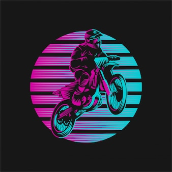 Motocross sunset retro ilustración vectorial