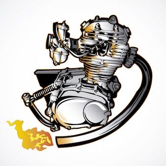 Motor de moto dibujado a mano