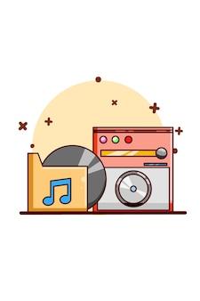 Motor de música con ilustración de dibujos animados de icono de cassette