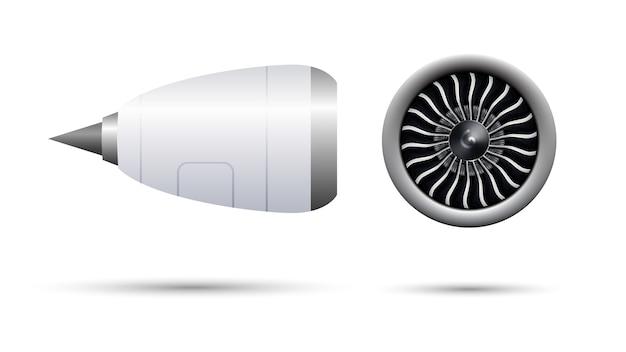 Motor turbo-jet 3d realista de avión