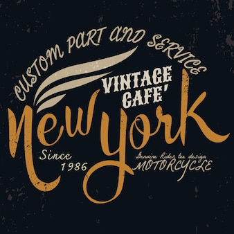 Motor vintage de nueva york tipográfico para diseño de camiseta
