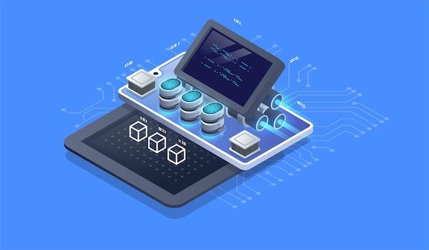 Motor web, herramientas de programación. desarrollo de software. visualización de tecnología.