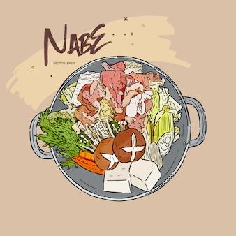 Motsu-nabe es un estofado popular hecho con porciones de tripas de varios tipos de carne, que se prepara en una olla de cocina convencional o en una olla nabe japonesa especial. dibujar a mano dibujo vectorial.