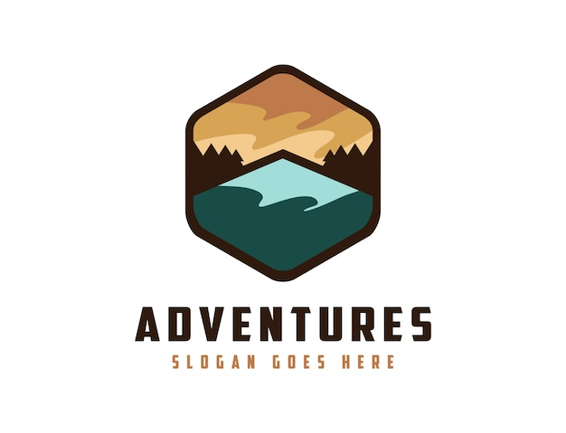 Mountain landscape adventure logo
