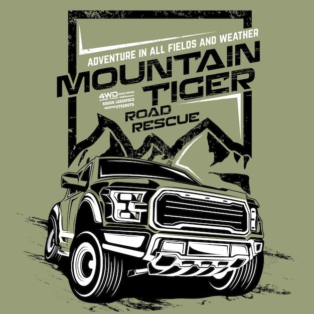 Mountain tiger road rescue, ilustración del coche de aventura offroad