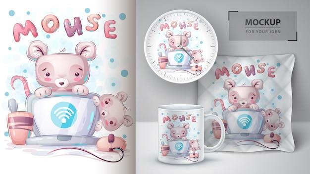 El mouse conecta el póster wifi y el merchandising