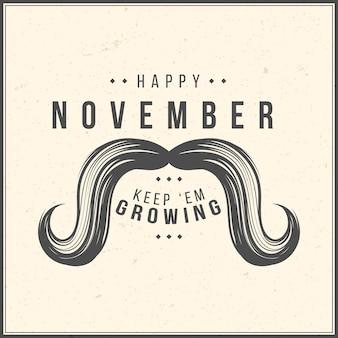 Movember bigote estilo vintage
