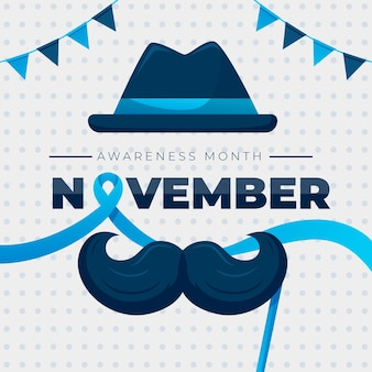 Movember plana con bigote y guirnalda