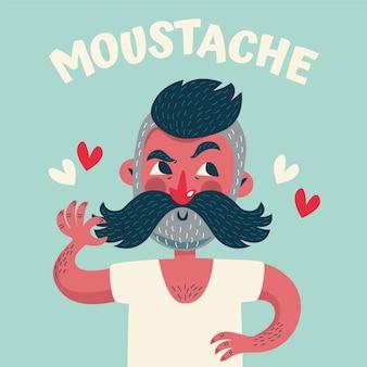 Movember plana chico y formas de corazón