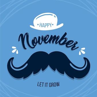 Movember plana con fondo de sombrero