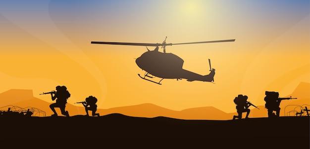 Mover herido, ilustración militar, fondo del ejército, siluetas de soldados, artillería, caballería, aerotransportado, médico del ejército.