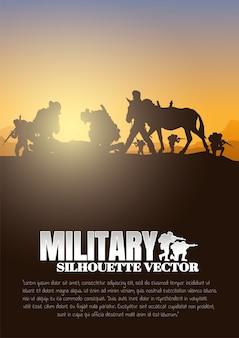 Mover herido, militar, fondo del ejército, siluetas de soldados, artillería, caballería, aerotransportado, médico del ejército.