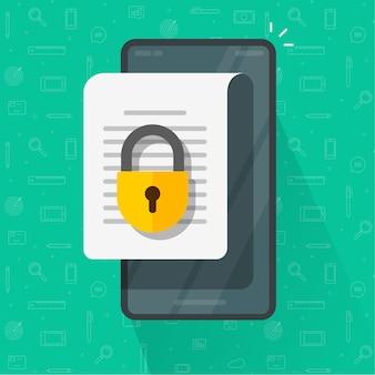 Móvil acceso seguro en línea a documentos confidenciales con bloqueo privado, candado denegado de permiso en el archivo de texto del teléfono inteligente del teléfono