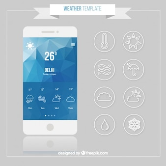 Móvil con aplicación de predicción meteorológica
