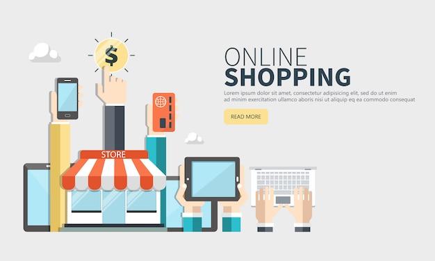 Móvil de compras y pago por click banner web.