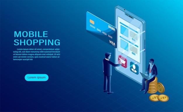Móvil con concepto de compra. interacción de datos del software.