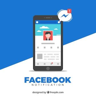 Móvil de diseño plano con notificaciones de facebook