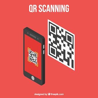 Móvil escaneando código qr