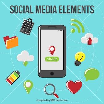 Móvil con símbolos de medios sociales