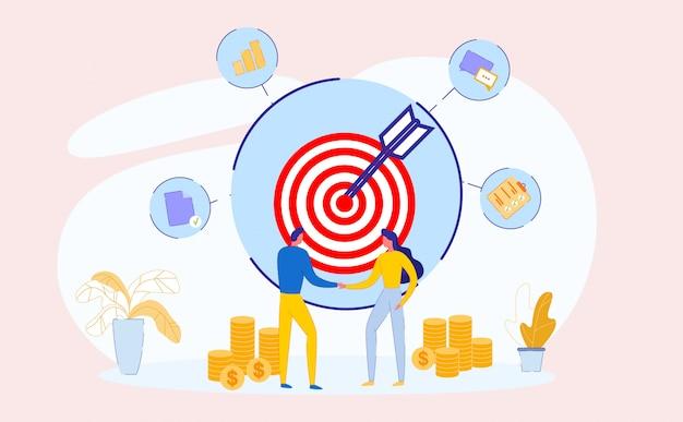Movimiento al objetivo comercial. trabajo en equipo. éxito.