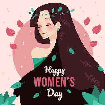 Movimiento de día para mujer de diseño plano