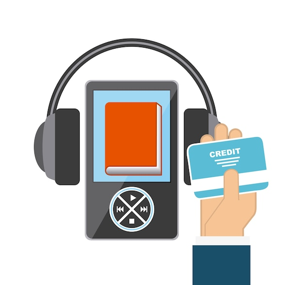 Mp3, libro y el icono de auriculares. diseño de audiolibros. gráfico vectorial