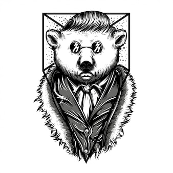 Mr polar bear ilustración en blanco y negro