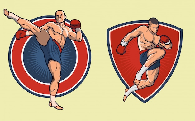 Muay thai combate set. los guantes