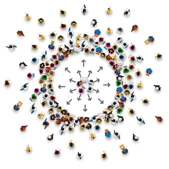 Mucha gente se para en un círculo sobre un fondo blanco. ilustración vectorial