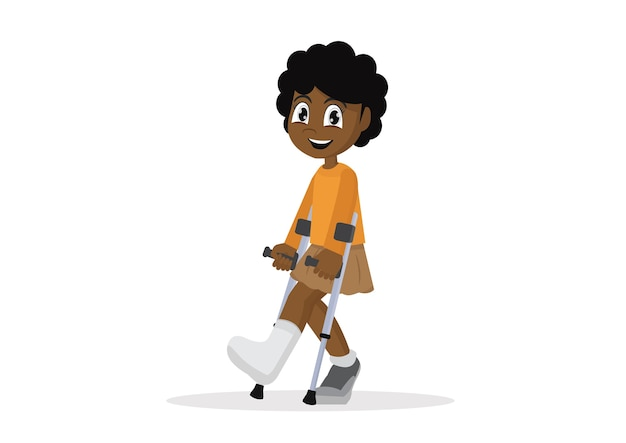 Muchacha africana con la pierna quebrada en el fondo blanco.