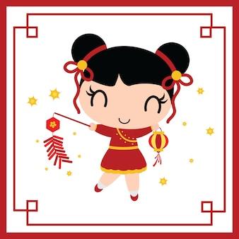 La muchacha china linda juega los petardos vector la ilustración de la historieta para la tarjeta del año nuevo chino