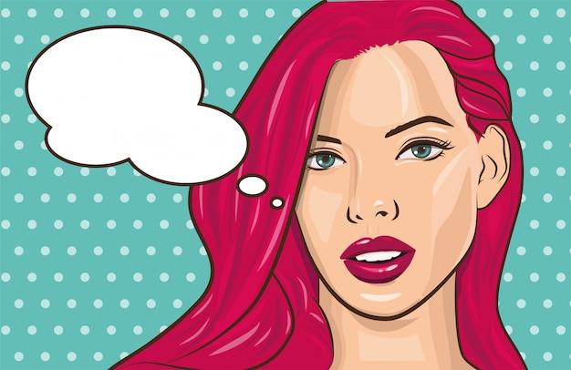 Muchacha cómica del cartel de la publicidad del vintage del arte pop con la burbuja del discurso. muchacha bonita guiñando un ojo en usted ilustración vectorial