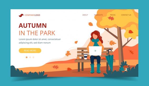 Muchacha con la computadora portátil que se sienta en banco en otoño. plantilla de página de aterrizaje.