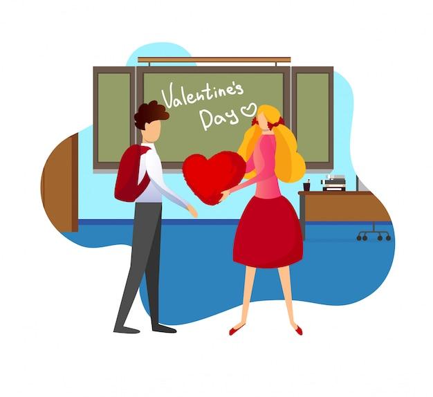 La muchacha da el corazón rojo al novio en aula.