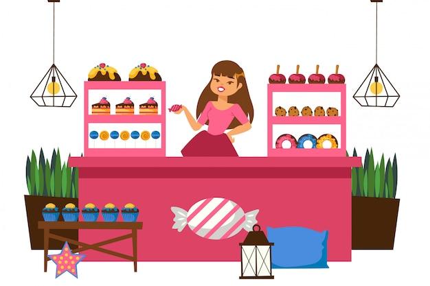 Muchacha detrás del contador que vende los dulces, ilustración. cupcake, pastel, manzana al horno y donas se encuentran en vitrina para la venta. mujer