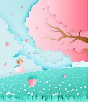 Muchacha hermosa con el árbol de la flor de cerezo en el ejemplo del vector del estilo del arte del papel del campo de hierba