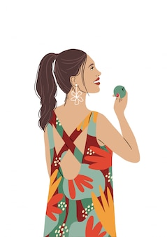Una muchacha hermosa en un vestido de verano brillante sonríe y sostiene una manzana en su mano. el cabello de la mujer en una cola de caballo, feliz y comiendo una dieta saludable, vegetariana. ilustración aislada