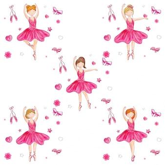 Muchacha linda de la bailarina en diverso peinado en fondo de los elementos del garabato.