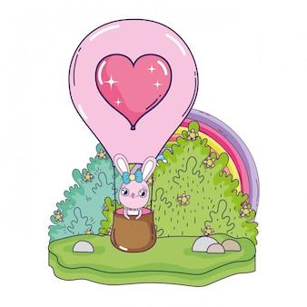 Muchacha linda del conejo que vuela en día de tarjetas del día de san valentín caliente del aire del globo