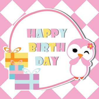 La muchacha linda del pingüino está guiñando un ojo en los regalos de cumpleaños marco la historieta del vector, la postal del cumpleaños, el papel pintado, y la tarjeta de felicitación, diseño de la camiseta para los cabritos