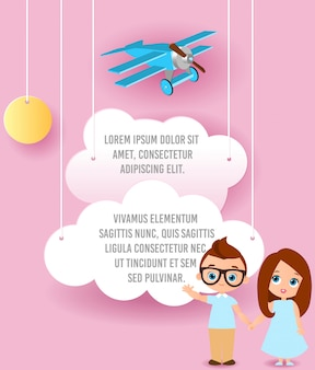 Muchacha y muchacho joven con los vidrios. vector el arte de papel de la nube y del avión que vuelan en el cielo. plantilla de publicidad