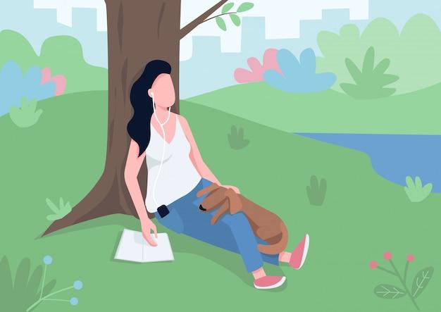 Muchacha que descansa en el ejemplo plano del vector del color del parque.