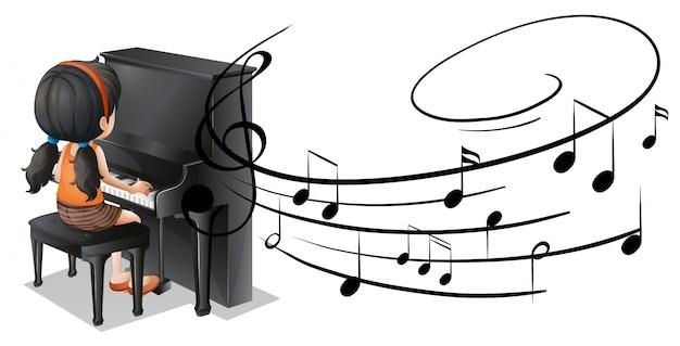 Muchacha que juega el piano con las notas de la música en fondo