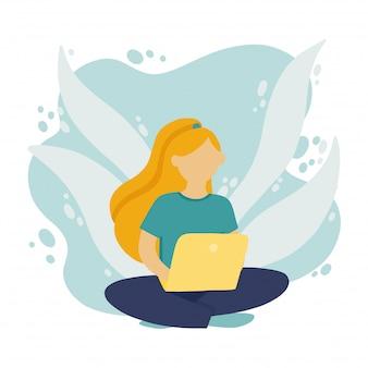 Muchacha que se sienta en el suelo y que trabaja en la computadora portátil en una red social. promoción freelance en la red en estilo plano.