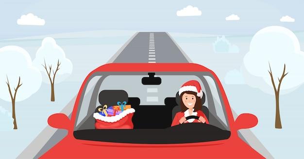 Muchacha en el sombrero de santa que conduce la ilustración. mujer en traje de navidad sentado en el asiento delantero del automóvil con gran bolsa con regalos. conductor femenino en ropa festiva de navidad, camino nevado de invierno