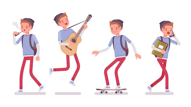 Muchacho adolescente en diferentes situaciones