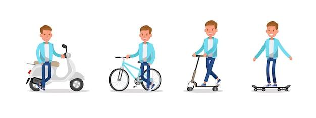 Muchacho adolescente montando motocicletas, bicicletas, patinetas y scooters diseño de vectores de caracteres.