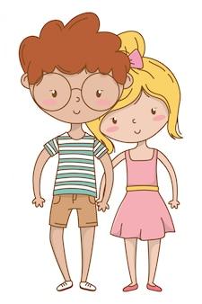 Muchacho adolescente y niña de dibujos animados.